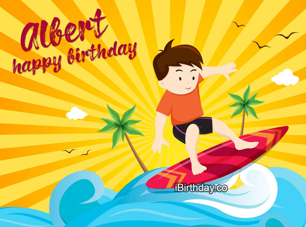 Albert Surfing Happy Birthday