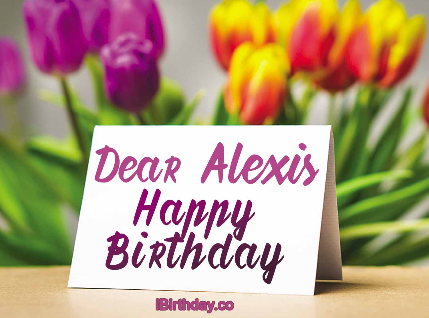 Alexis Card with flowers Happy Birthday