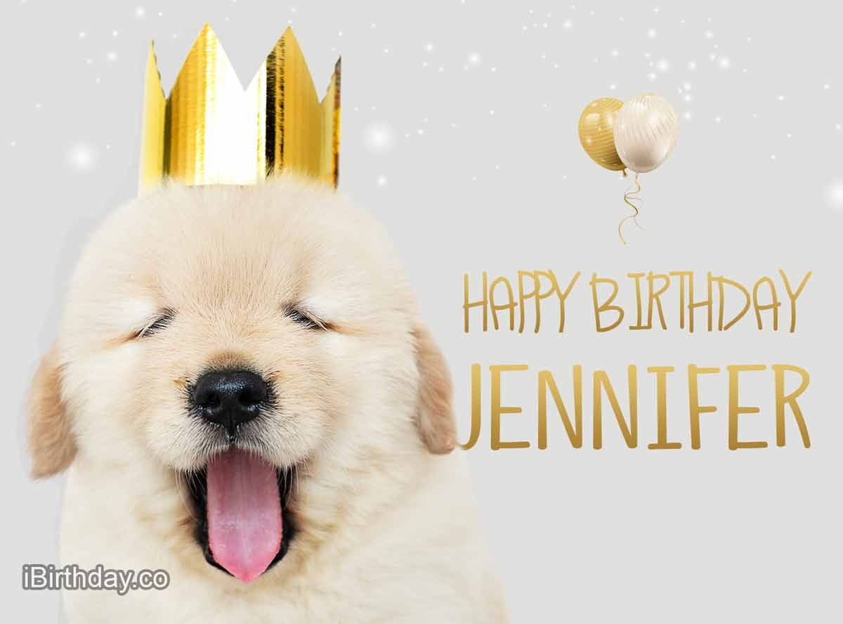 Jennifer Dog With Crown Happy Birthday