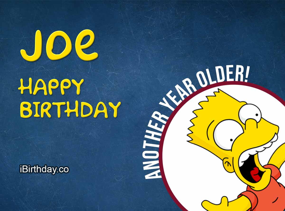 Joe Bart Simpson Happy Birthday