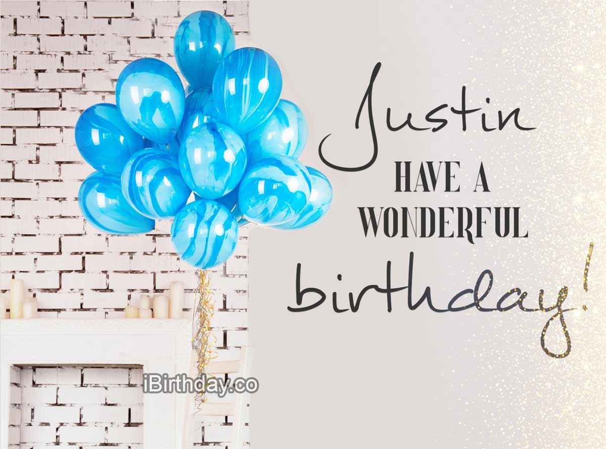 Justin Balloons Happy Birthday Wish