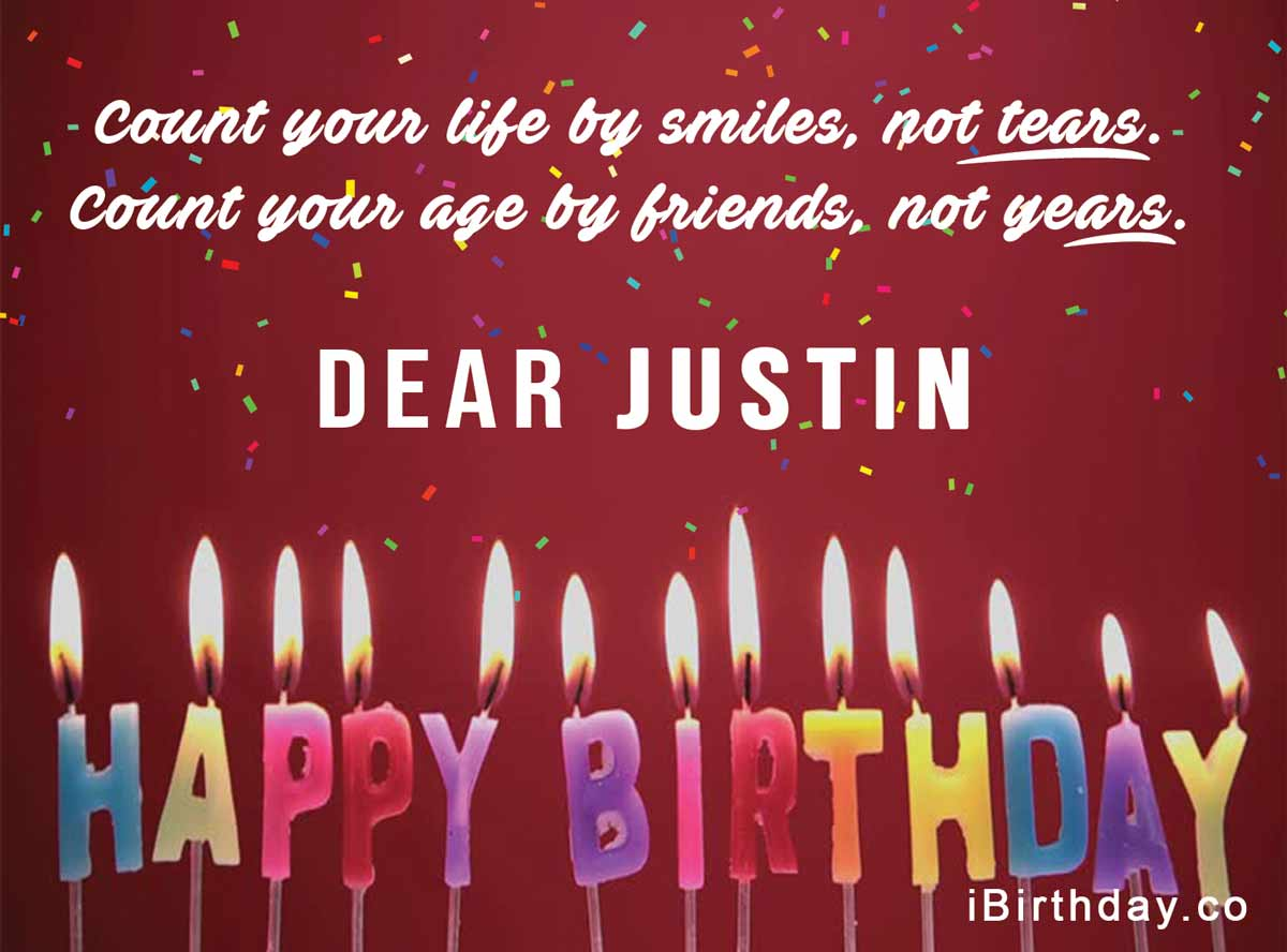 Justin Candles Happy Birthday Quote