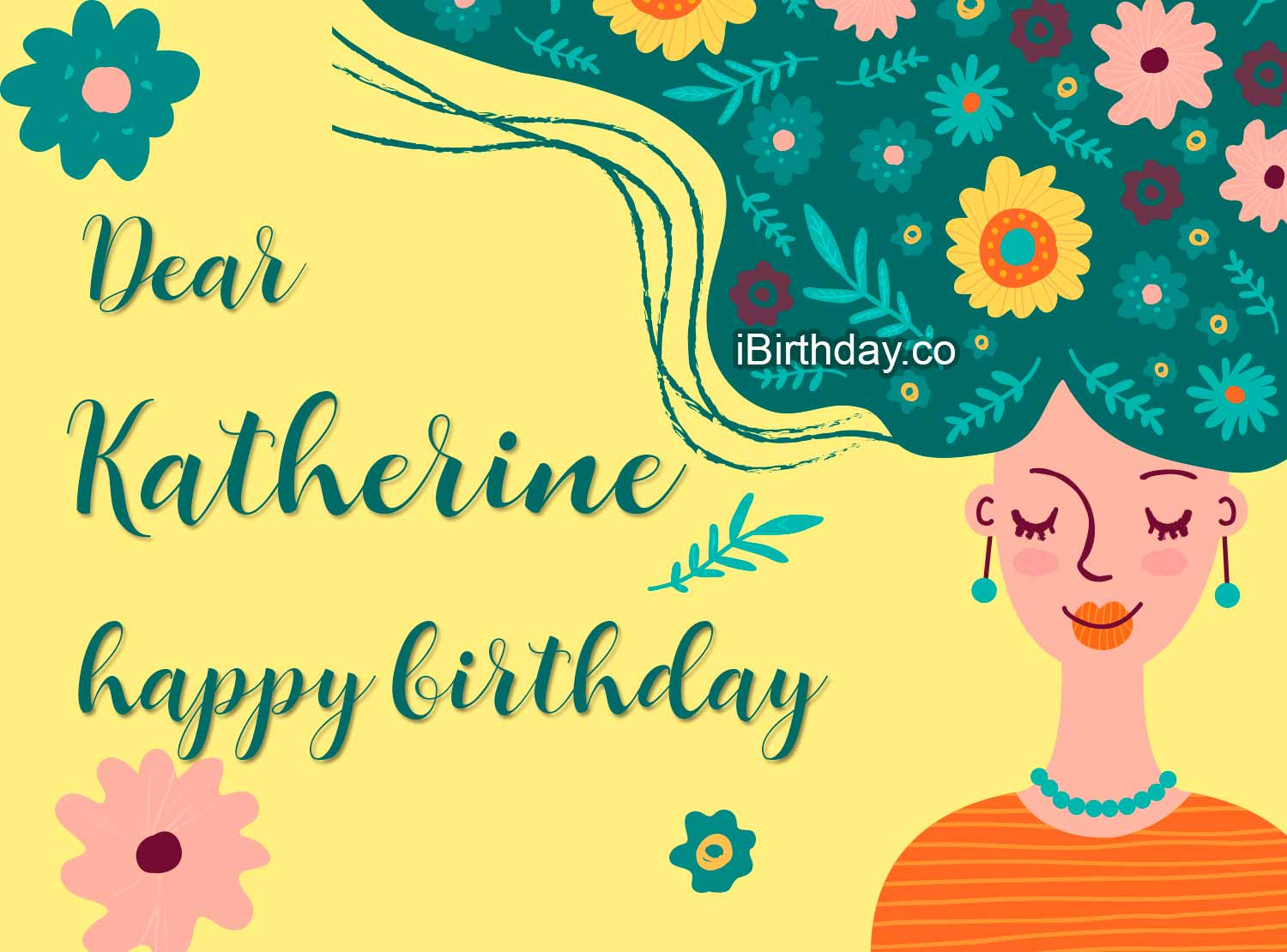 Katherine Girl With Flowers Happy Birthday