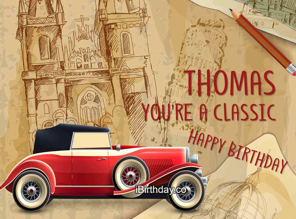 Thomas Classic Car Happy Birthday