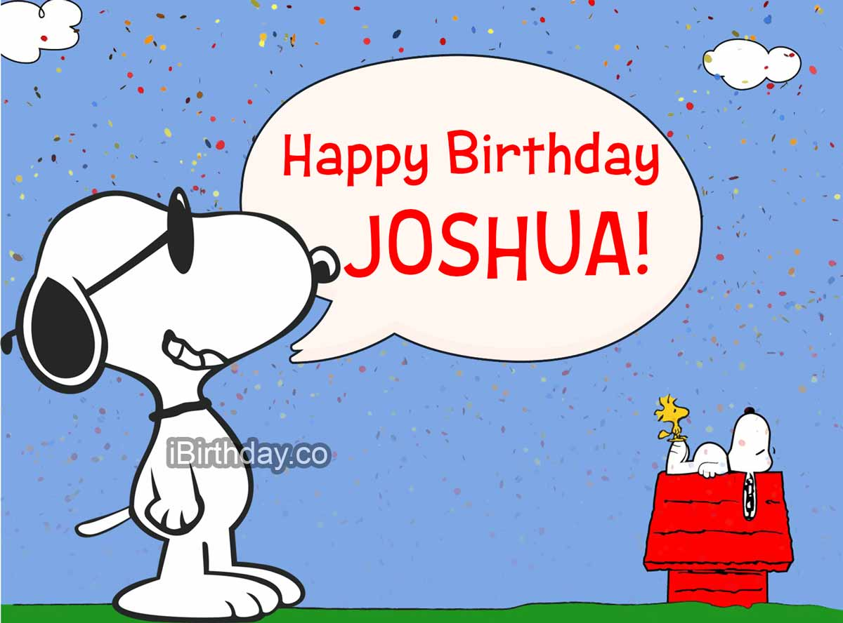 Joshua Snoopy Birthday Greeting Card