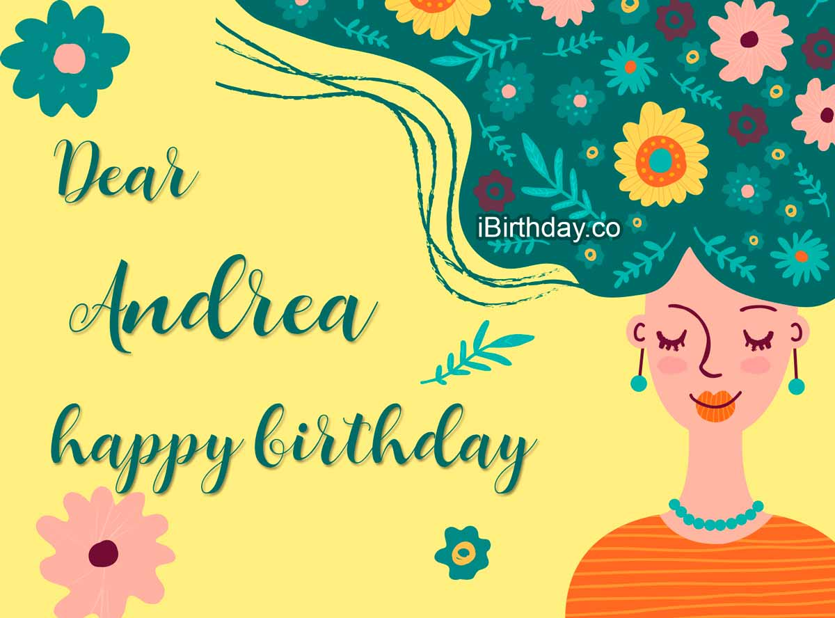 Andrea Girl With Flowers Birthday Wish