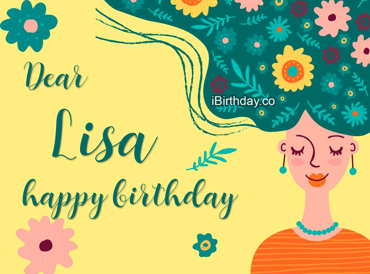Lisa Girl With Flowers Birthday Wish