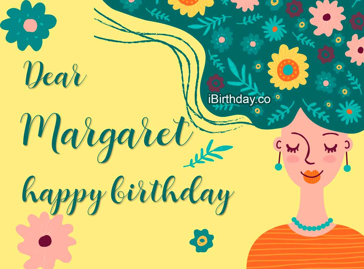 Margaret Girl With Flowers Birthday Wish