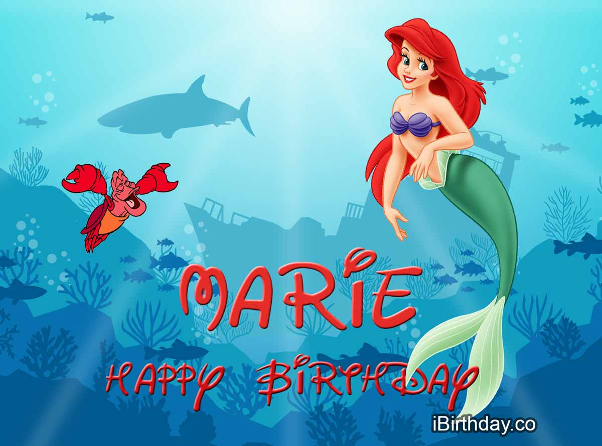 Marie Little Mermaid Happy Birthday