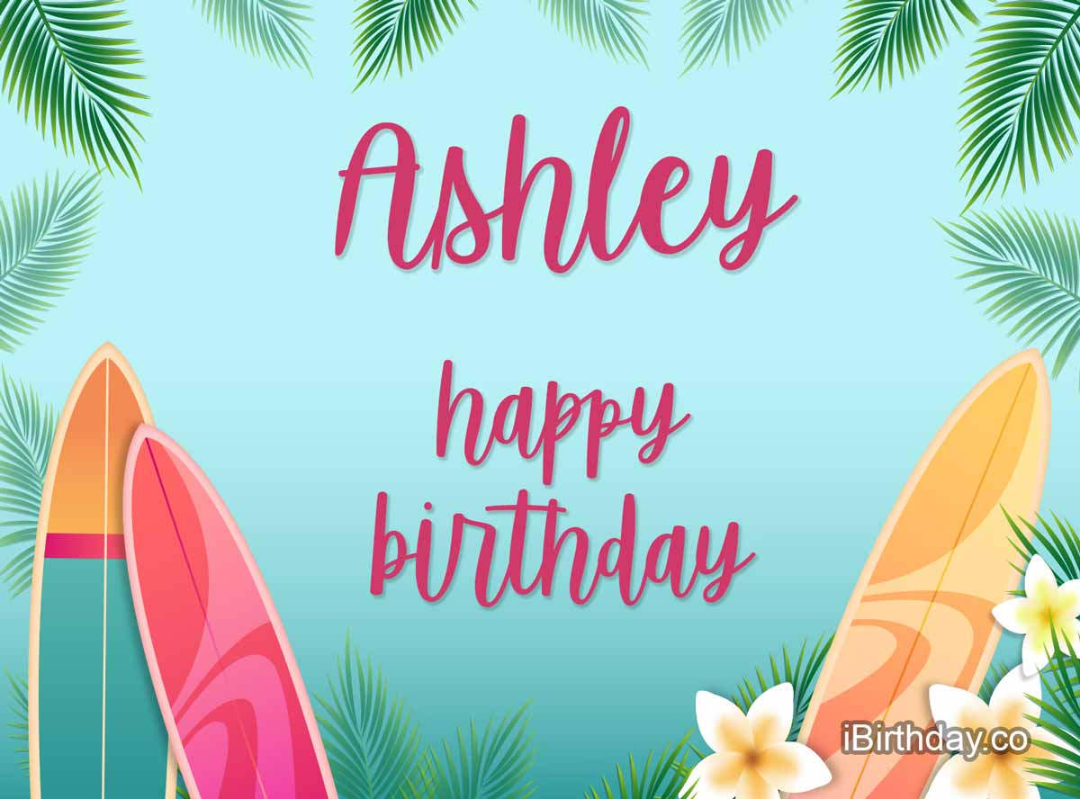 Ashley Surfing Birthday Meme