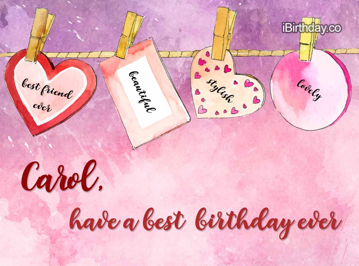 Carol Heart Birthday Wish