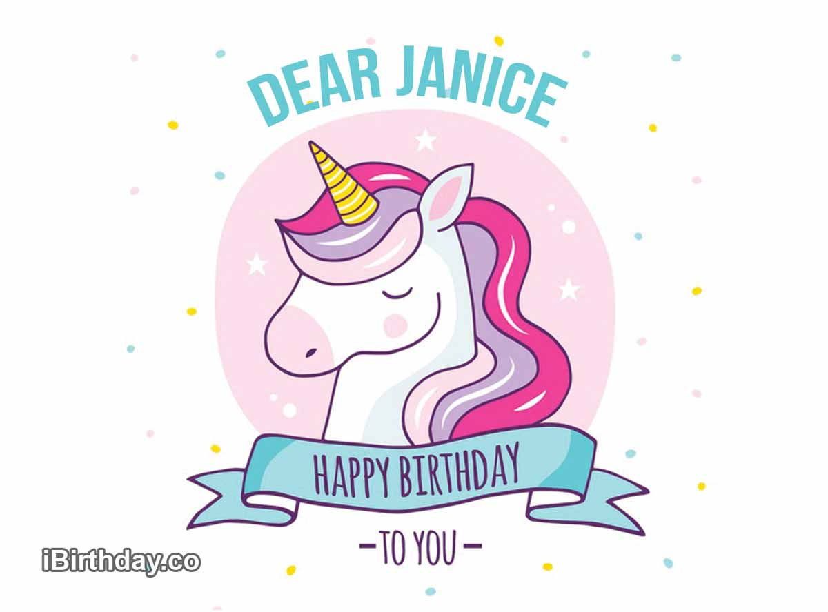 Janice Unicorn Happy Birthday