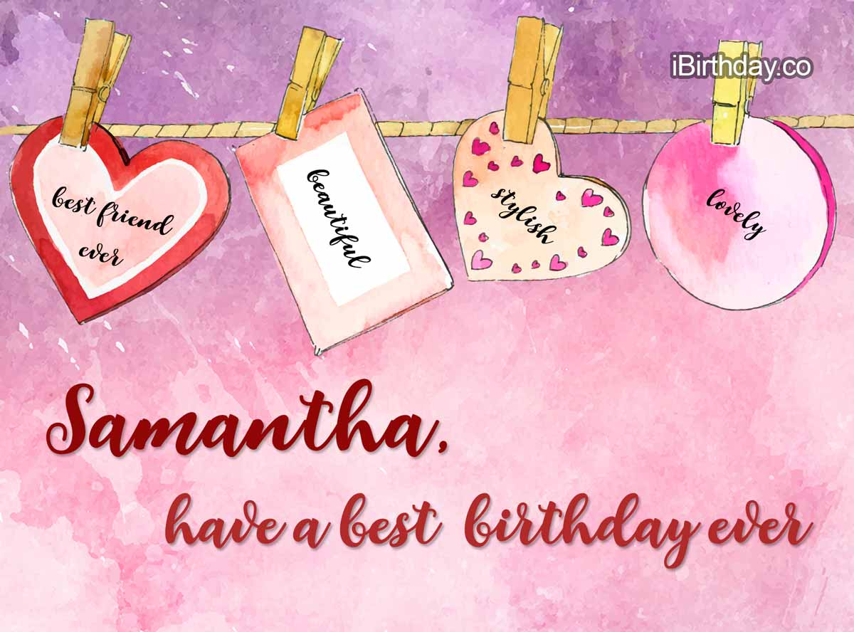 Samantha Heart Happy Birthday