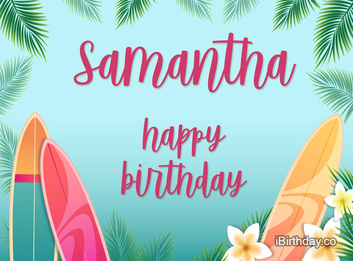 Samantha Surfing Birthday Meme